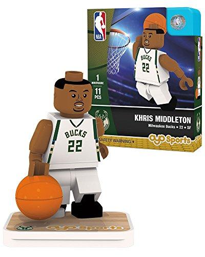 OYO NBA Milwaukee Bucks Khris Middleton Association Home Uniform Minifigure, Small, No Color