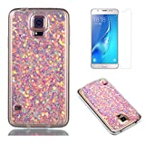 Fit for Samsung Galaxy S5 / S5 Neo Glitter Case with Screen Protector,OYIME [Purple Sequins] Shiny Bling Luxury Design Clear Ultra Thin Soft Rubber Protective Back Cover Transparent Scratch Resistant Drop Protection Bumper