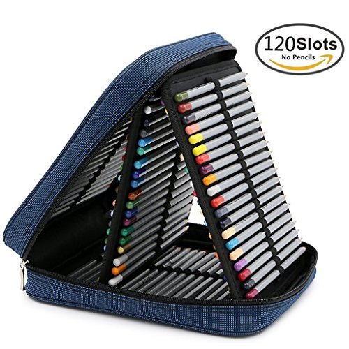 Behomy Handy Pencil Organizer Bag with Zipper and 120 Slot - Blue price