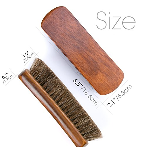 6.7'' Horsehair Shoe Brushes with Horse Hair Bristles for Boots, Shoes & Other Leather Care, 2 Pack (Brown) by Foloda (Image #1)