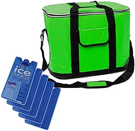 XXL Kühltasche Set mit 4 Kühlakkus Kühlbox 30L groß Grün Picknick Camping Strand