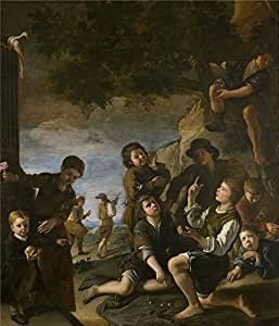 high quality polyster Canvas ,the Beautiful Art Decorative Canvas Prints of oil painting 'Nunez de Villavicencio Pedro Ninos jugando a los dados 1686 ', 8 x 9 inch / 20 x 24 cm is best for Kitchen artwork and Home decoration and Gifts