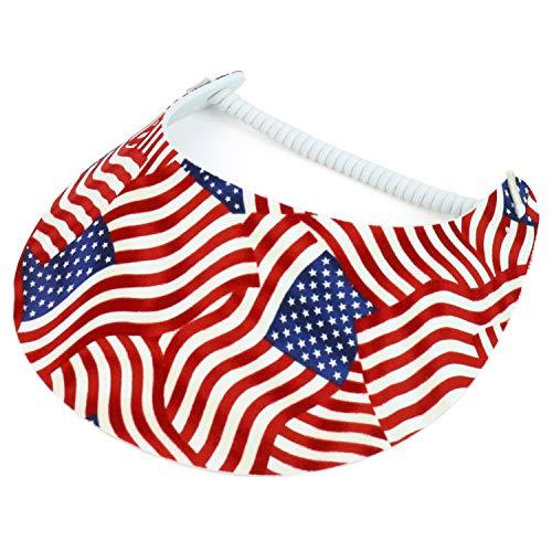 Trendy Apparel Shop Patriotic USA Flag Design Elastic String Coil Foam Sun Visor - D