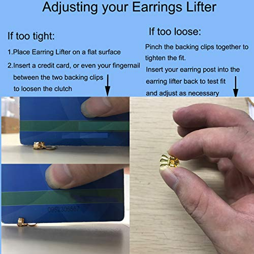 Earring Lifters, Adjustable Ear Lifters, Safety Drooping Earring Backs Replacements Jewelry Making Fit All Post Earrings (Silver/Gold/Rose Gold Plated)