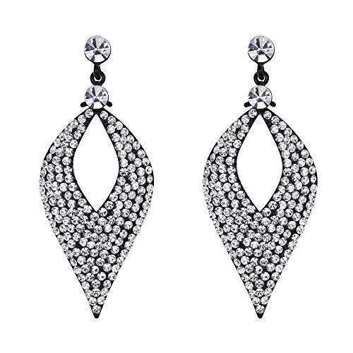 (BriLove Bohemian Boho Dangle Earrings for Women Crystal Hollow Leaf Chandelier Earrings Clear Black-Silver-Tone)