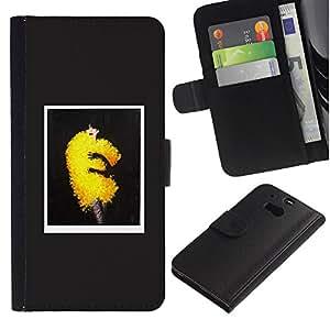 Be Good Phone Accessory // Caso del tirón Billetera de Cuero Titular de la tarjeta Carcasa Funda de Protección para HTC One M8 // Fashion Art Yellow Puffy Fluffy Dress Trend