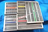 5 GERMAN STAINLESS Dental Instrument Autoclave Sterilization Cassette Tray Rack -20 Instruments ( SET OF 5 COLOR )