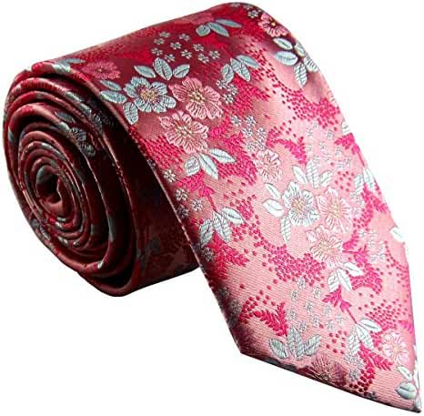 MY&HB Mens Classic Neckties Tie Set Silk Green Paisley for Men Fashion
