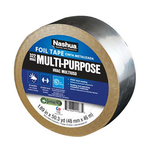 Weather Foil Tape - Nashua 322 HVAC Multi-Purpose Foil Tape, 46m Length, 48 mm Width, Aluminum