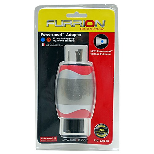 Furrion F3015AD-SS 15/20 Amp Female to 30 Amp Locking Male Adapter