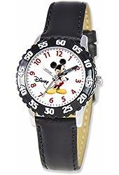 Disney Mickey Mouse Kids Black Leather Strap Time Teacher Watch