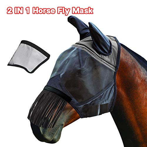 BOFUYA Ride Horse Fly Mask with Ears Replaceable Long Nose and Fringe Two Ways Use