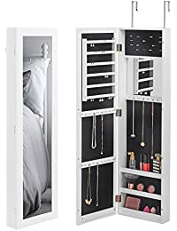 Elegant Wall/Door Mounted Mirrored Jewelry Cabinet Storage Organizer Armoire With  Internal And External Mirror (