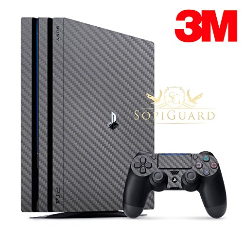 SopiGuard 3M Carbon Gunmetal Full Body Precision Edge-to-Edge Coverage Vinyl Skin for Sony Playstation 4 PS4 Pro