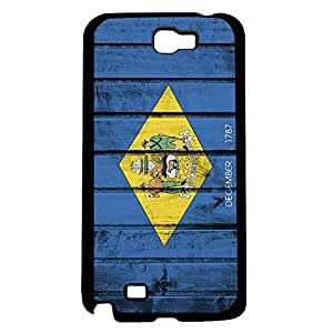 Delaware State Flag with Coat of Arms in Yellow Diamond and Blue Wood Background Hard Snap on Phone Case Cover Samsung Galaxy Note 2 N7100