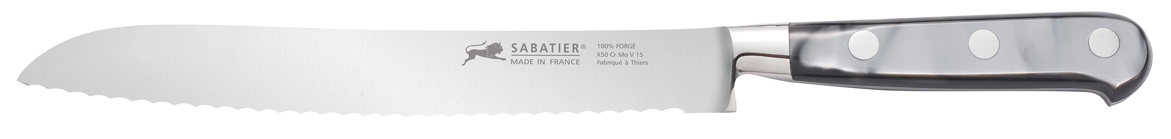 Sabatier Stainless Steel Bread Knife with Mother of Pearl-Inspired Handle, 8-Inch