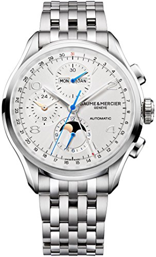 Baume-Mercier-Clifton-Mens-43mm-Stainless-Steel-Automatic-Chronograph-Watch-Silver-Face-Full-Calendar-Moon-Phase-Swiss-Watch-For-Men-10328