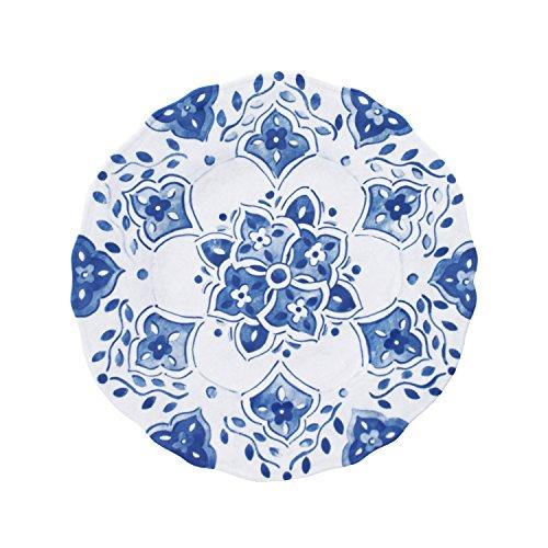 Le Cadeaux Salad - Le Cadeaux Moroccan Blue Melamine Salad Plates - Set of 4