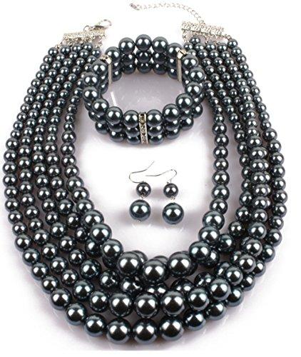 Shineland Elegant Multilayers Simulated Pearl Strand Cluster Collar Bib Choker Costume Jewelry Sets (Grey) -