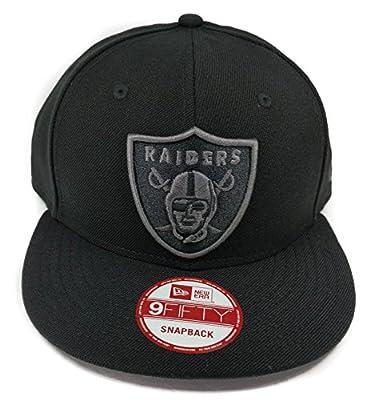 New Era Los Angeles Raiders 9Fifty Black and Black Solid Basic Logo Adjustable Snapback Hat NFL by New Era