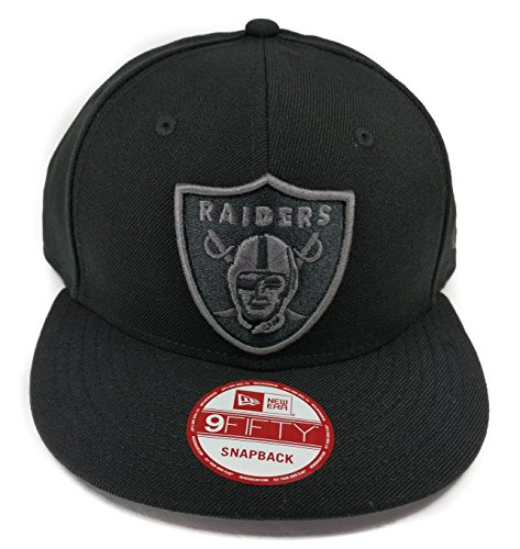 New Era Los Angeles Raiders 9Fifty Black and Black Solid Basic Logo Adjustable Snapback Hat NFL