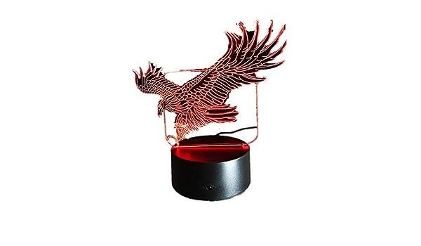 Lámpara de noche 3D de águila con 7 colores Hawk 3D con dibujos animados, lámpara de mesa de unicornio para oficina, hotel, dormitorio, bar, estado de ánimo, lámpara de dinosaurio, Adler, talla