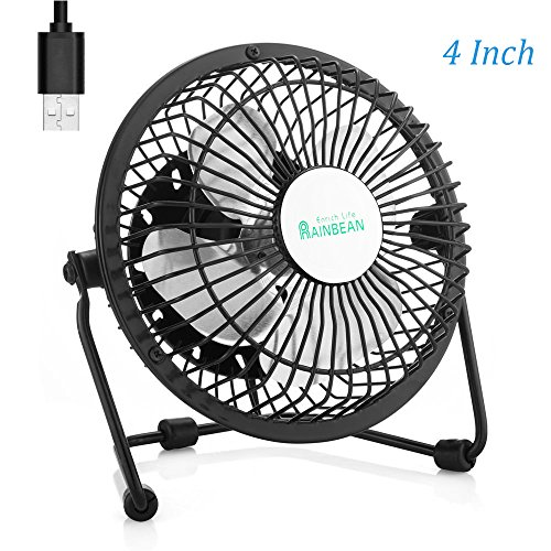 Mini USB Desk Fan, Small Personal Portable Table Desktop Fan with USB Powered, Quiet Operation, Metal Frame for Home Office Bedroom, 4 inch Black -