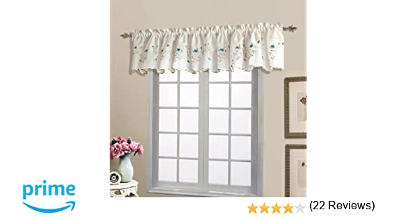 Amazon.com: United Curtain Loretta Embroidered Sheer Shaped Valance, 52 by 18-Inch, White/Blue: Home & Kitchen