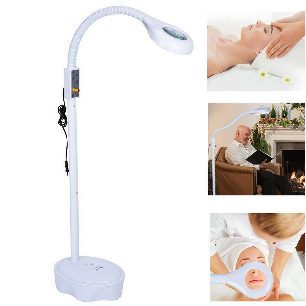 3X Magnifying LED Floor Standing Beauty Lamp Stable Eye Care Soft Cold Lighting Reading Needlework Beauty Tattoo Microblading Makeup Magnifier Illumination Yosooo