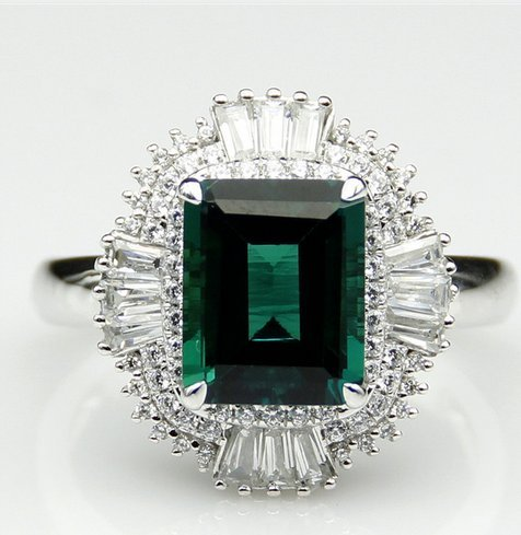 GOWE 3ct Center Lab Grown Emerald Green Gemstone 9k White Gold Baguette Accents Plate Platinum Wedding Engagement Ring