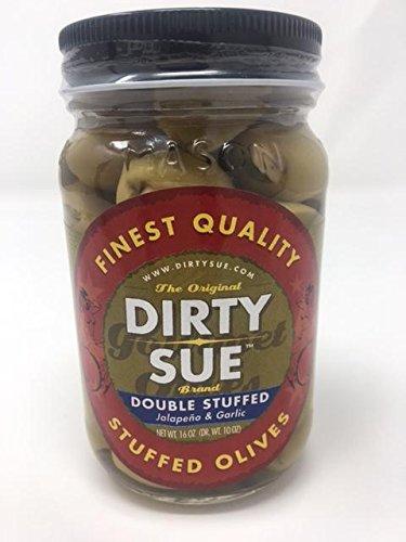 Dirty Sue Double Jalapeno & Garlic Stuffed Green Olives - 16 oz. - Olives Jalapeno Green Stuffed