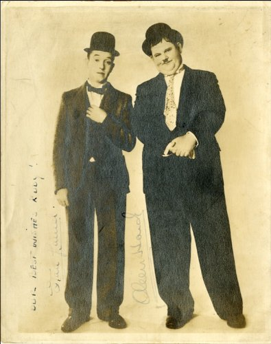 PHOTO PRINT APPROX SIZE 12X8 INCHES LAUREL AND HARDY AUTOGRAPH