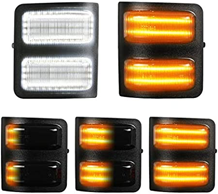 White+Amber LED Mirrors Indicator Light For Ford F250 F350 F450 F550 Super Duty
