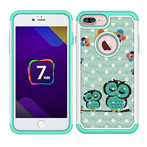iPhone 7 Plus Case, iPhone 8 Plus Case, MagicSky [Shock Absorption] Studded Rhinestone Bling Hybrid Dual Layer Defender Protective Cover for Apple iPhone 7 Plus (2016) / iPhone 8 Plus (2017) - Owl