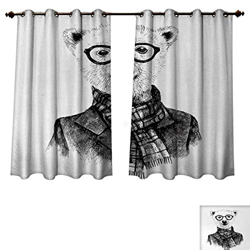Anzhouqux Animal Blackout Thermal Curtain Panel Hand Drawn Monochrome Sketch Style Hipster Bear with Jacket Scarf Glasses Patterned Drape for Glass Door Black Grey and White W63 x L45 inch
