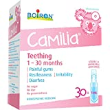 Boiron Camilia Baby Teething Relief Medicine, 30 unit-doses (1 ml each). Camilia relieves pain, restlessness, irritability and diarrhea due to teething. Benzocaine-Free and Preservative-Free with Natural Active Ingredient,No Sugar, No Dye