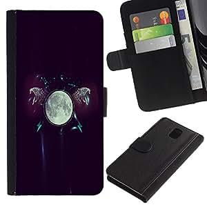 Billetera de Cuero Caso Titular de la tarjeta Carcasa Funda para Samsung Galaxy Note 3 III N9000 N9002 N9005 / The Moon Glow / STRONG