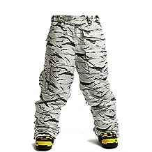 South Play Men's Premium Waterproof White Desert Ski Snowboard Boardwear Pants