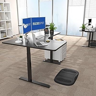 Flexispot 48'' E3LB-L Corner Standing Desk Frame L-Shaped Desk – Electric Adjustable Height Sit Stand Desk/2 Motors and 3 Tiers(Black Frame + Black Top)