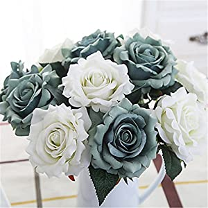 JJH 5 Branch Silk Polyester Roses Tabletop Flower Artificial Flowers 47