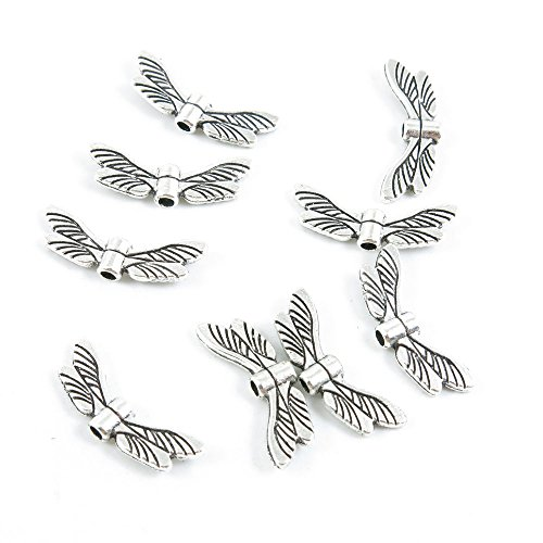 (Qty 20 Pieces Antique Silver Tone Jewelry Making Supply Charms Findings K4PI2 Dragonfly)