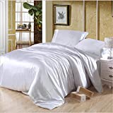 Wedding Luxury Bedding Collection 4 Piece Bed Sheet Set Silk Soft Durable Assorted Colors Duvet Cover Flat Sheets Pillowcases Full , 9 , full