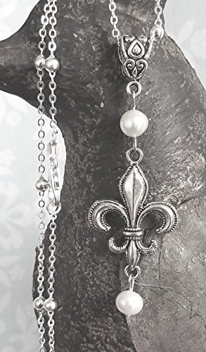 Fleur de Lis Pearl Necklace on Sterling Silver Chain ()
