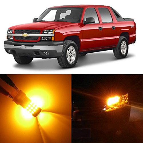 Alla Lighting 2pcs Back-up Reverse Front Turn Signal Blinker DRL Light Amber Yellow LED Bulbs Lamps for 2002~2006 Chevy Chevrolet Avalanche 1500/ Avalanche 2500 3157A 4114K 4157NAK 3457NA
