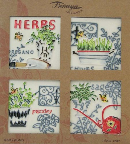 Herbs Coasters Set of 4 Benaya Art Tiles Contemporary Wall Tile Picture Plaque It?s As If They Are Alive With Detail Bold Colours A Perfect Decorative Fathers Mothers day Gift Birthday Present Purchase (Herb Tiles)