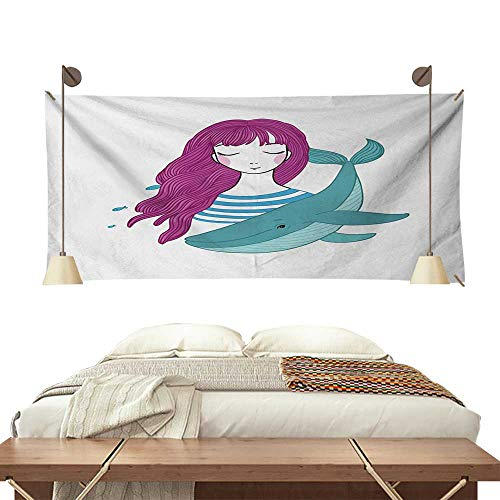 Jinguizi Girls Bedroom Tapestry Illustration of a Teenage Girl with Closed Eyes and a Funny Whale Tapestry Throwing Blanket 60W x 51L InchMagenta Turquoise and Blue