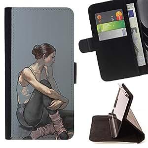 "For Sony Xperia Z5 Compact Z5 Mini (Not for Normal Z5),S-type Bailarina Mujer Arte Pintura"" - Dibujo PU billetera de cuero Funda Case Caso de la piel de la bolsa protectora"