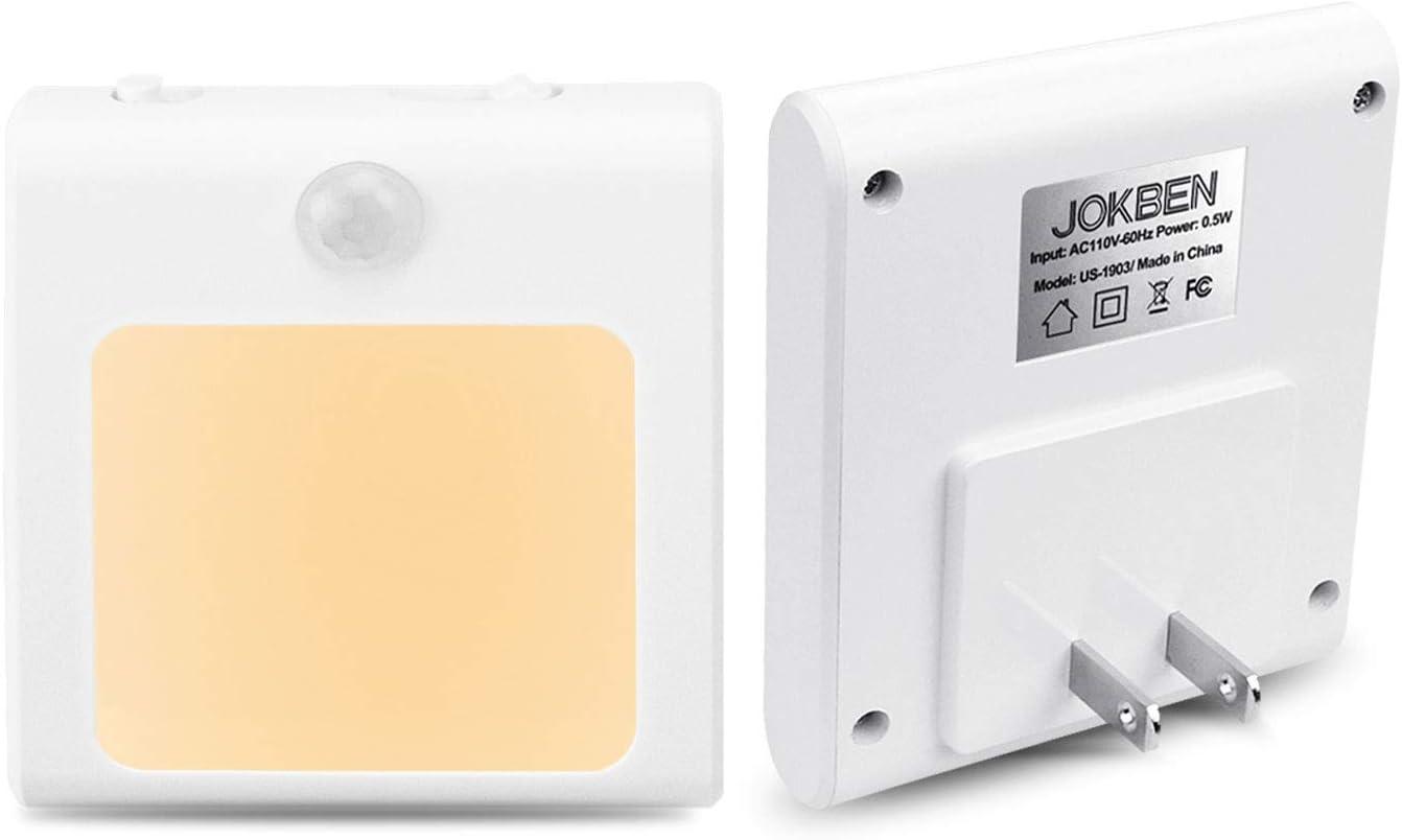 Plug-in Motion Sensor Night Light, Adjustable Brightness Warm White LED Nightlight for Kitchen, Hallway, Stairway, Bathroom, Bedroom (2 Pack)