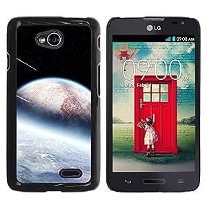 QCASE / LG Optimus L70 / LS620 / D325 / MS323 / planetas alienígenas meteorito estrellas ducha cosmos espacio / Delgado Negro Plástico caso cubierta Shell Armor Funda Case Cover