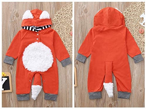 Dinlong Kids Baby Boy Girl Clothes 3D Cartoon Fox Hooded Romper Jumpsuit Outfits